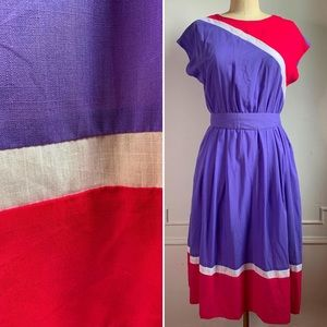 Vintage 80s Striped Summer Sun Dress